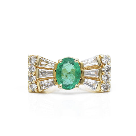 "Vintage 14kt Gold, Emerald & Diamond ""Bowtie"" Ring"