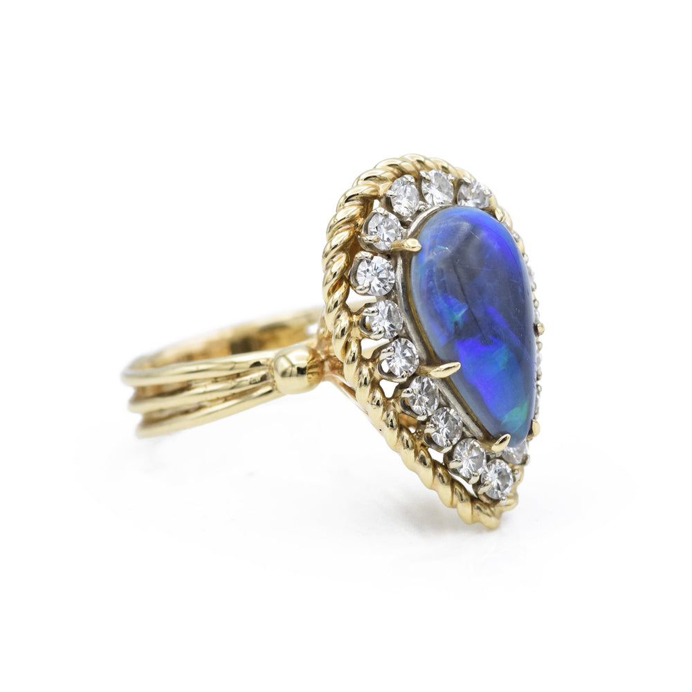 Vintage Gold & Pear Shaped Boulder Black Opal Ring with Diamonds