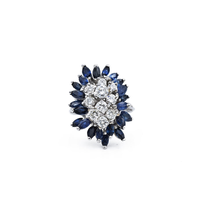 Vintage 14kt Gold, Sapphire & Diamond Cluster Ring