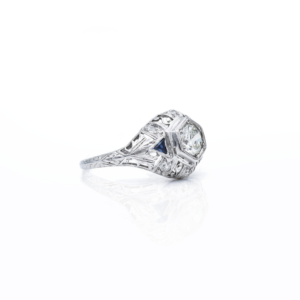 Vintage c. 1930s Art Deco Platinum & Diamond Ring