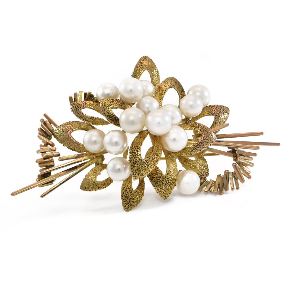 Estate 14kt Gold Akoya Pearl Pin