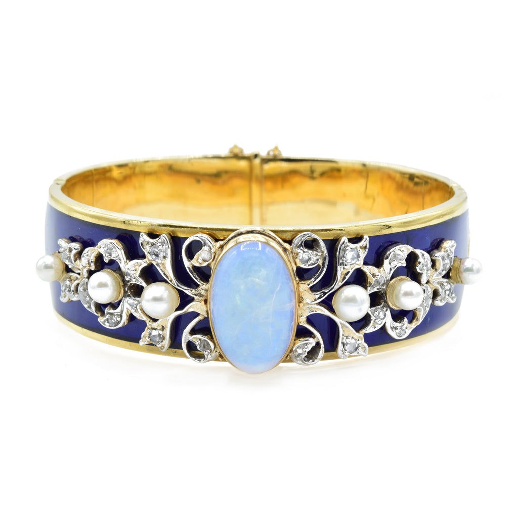 Antique 22kt Gold Opal Enamel Diamond and Pearl Bangle