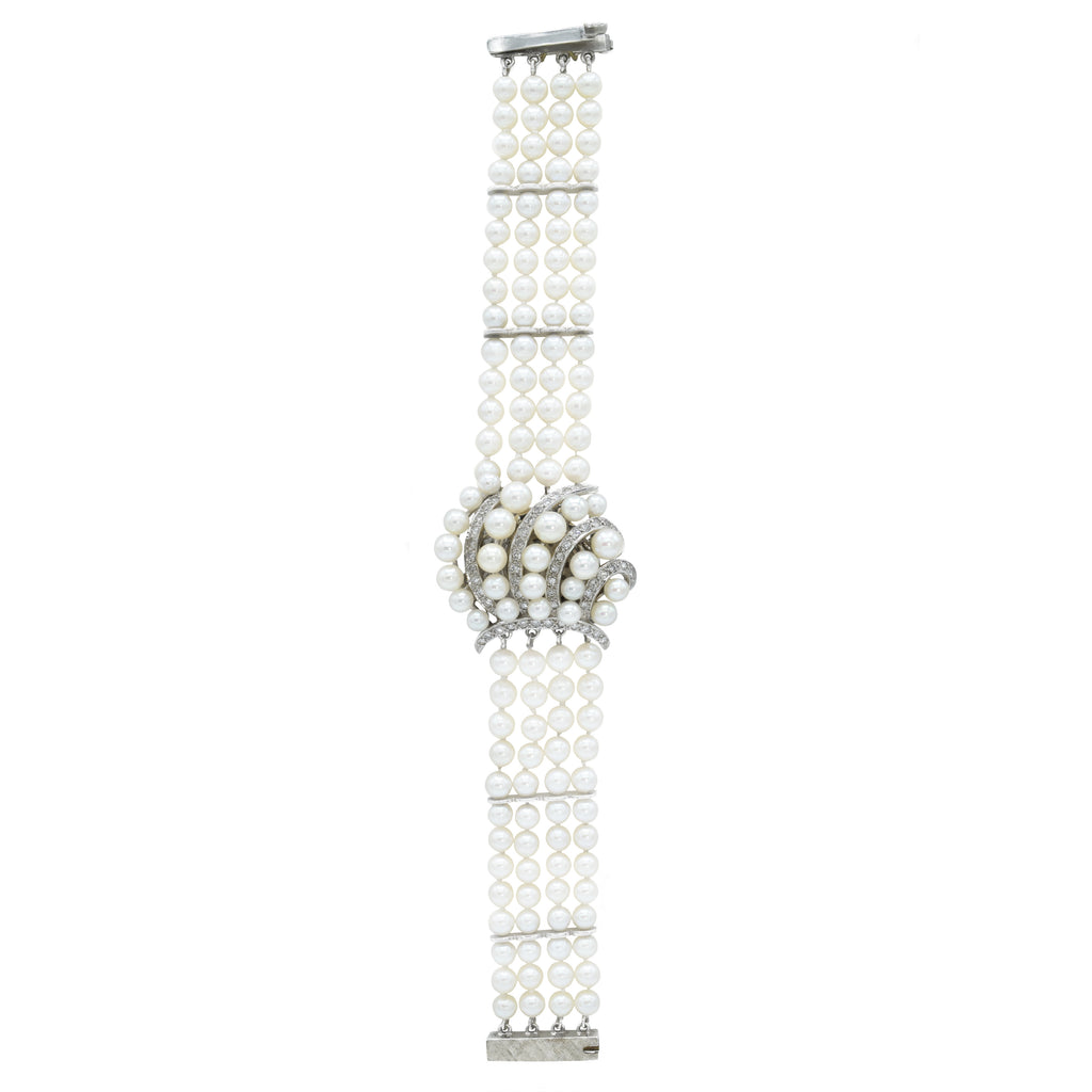 Estate 14kt White Gold Pearl and Diamond Watch Bracelet
