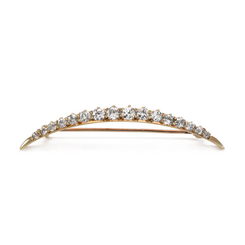Estate Crescent Pin with 1.65ct Diamond