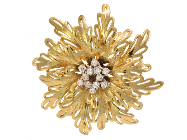 Estate 18kt Gold and .50ct Diamond Flower Brooch