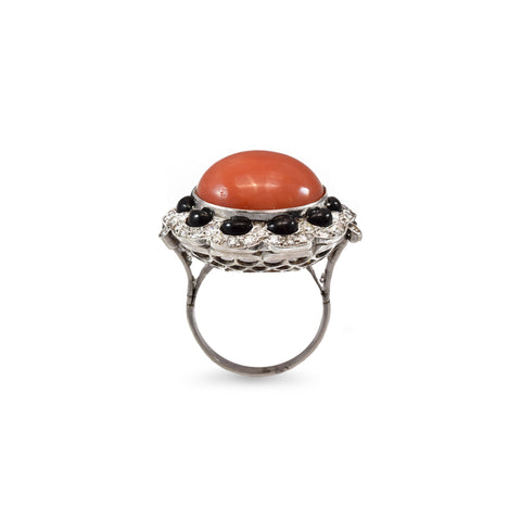Estate Platinum and Coral Ring with 1.75ct Diamonds and Black Onyx