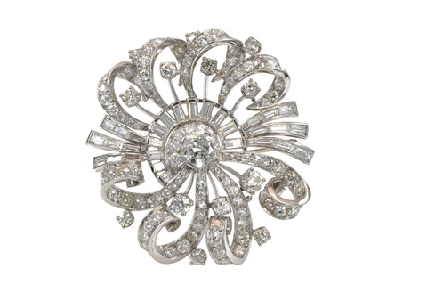 Estate Platinum and Diamond Brooch/Pendant