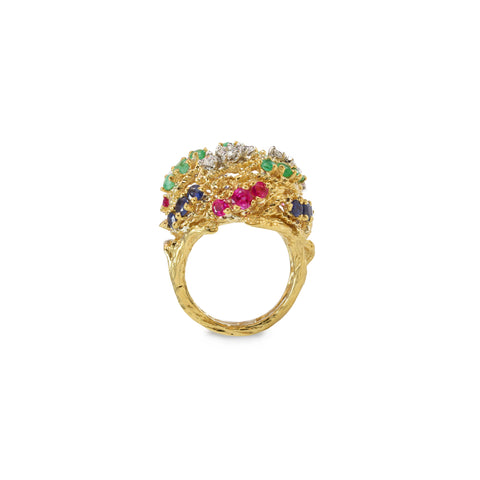 Estate 18kt Gold Ring with Diamond, Ruby, Sapphire and Emerald