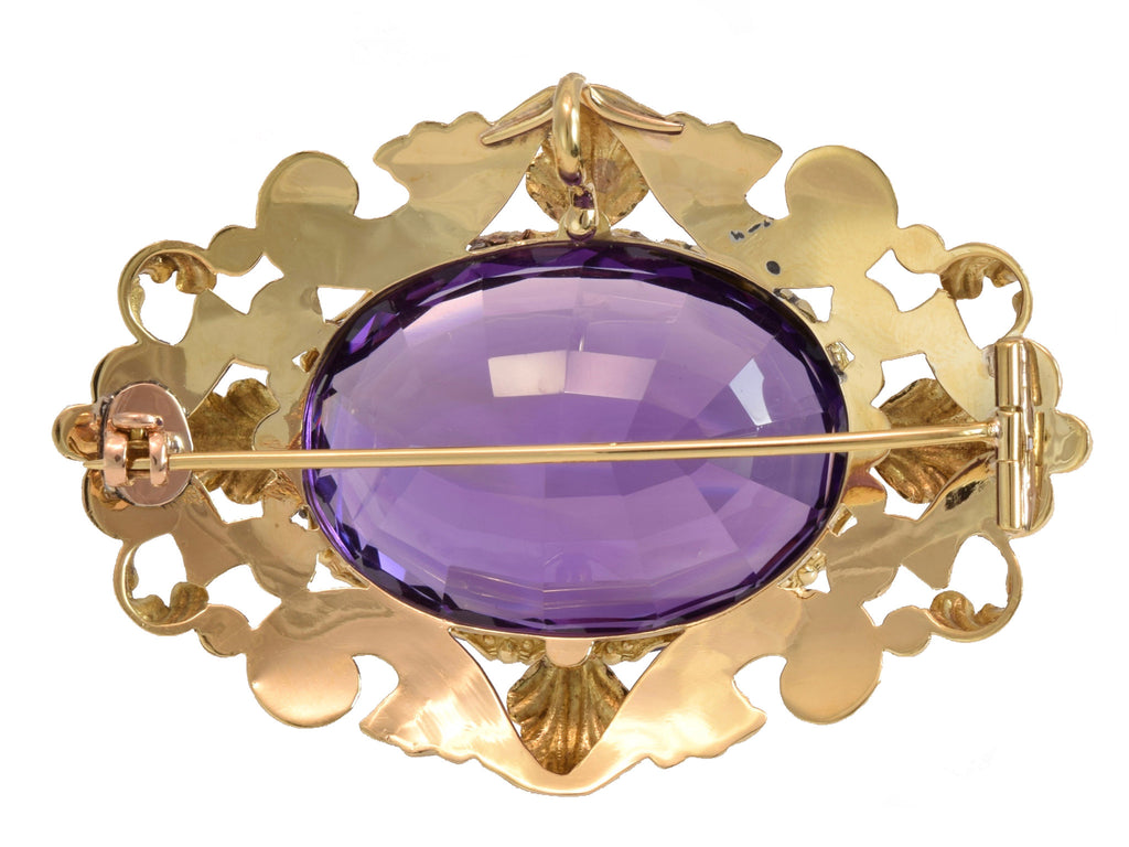Estate 14kt Yellow Gold Amethyst Brooch/Pendant