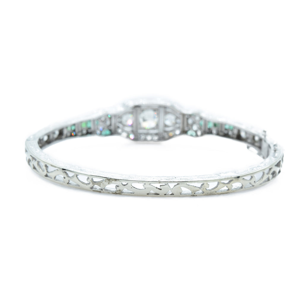 Estate 5.52ct Diamond and Emerald Bangle