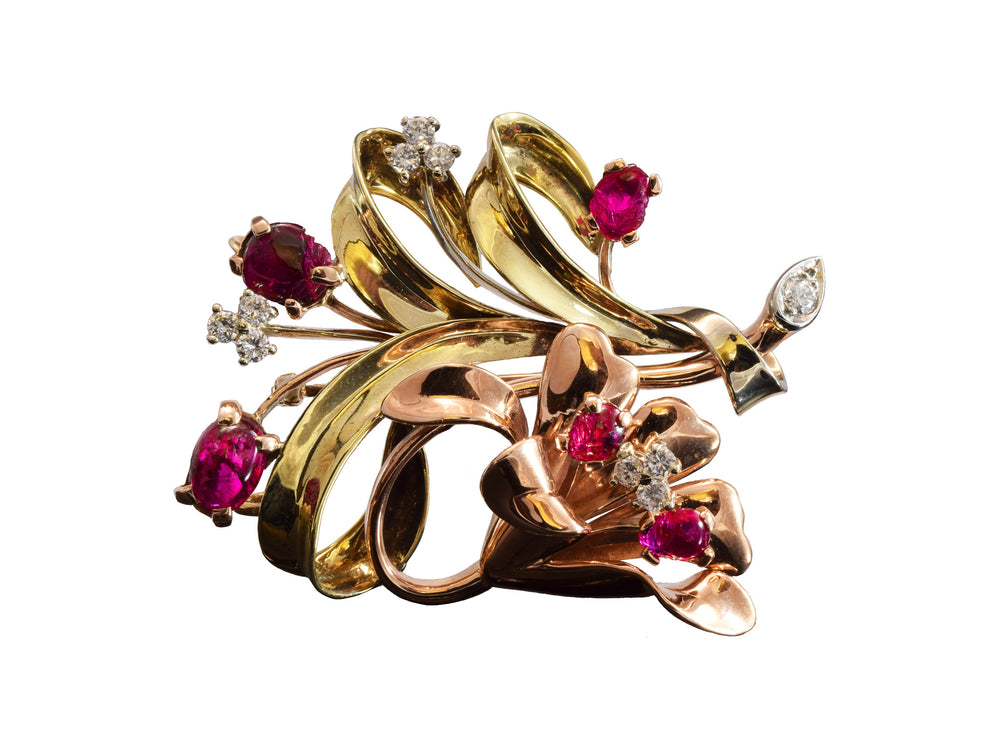 Estate 14kt Yellow and Rose Gold, Ruby and Diamond Pin