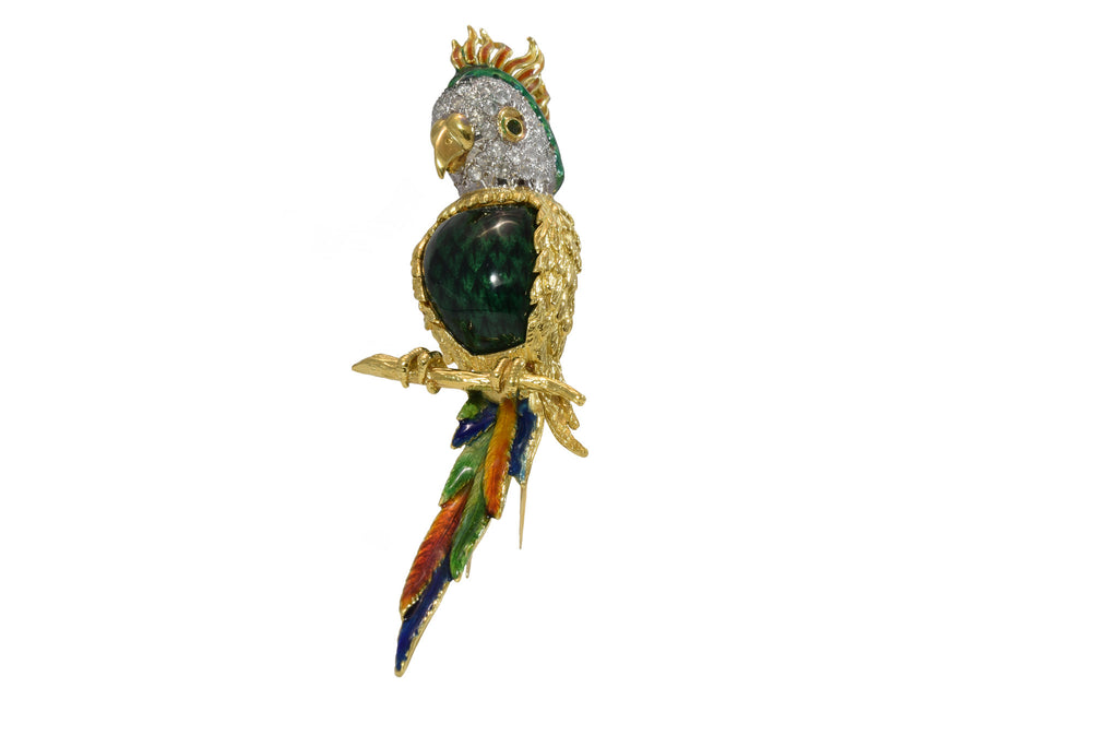 Estate 18kt Yellow Gold and Diamond Parrot Pin