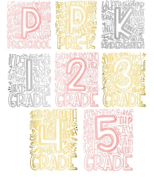 Elementary Grade School Number shirts with METALLIC - Se7enTees