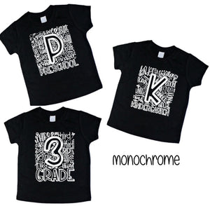 Elementary Grade School Number shirts Black with white - Se7enTees