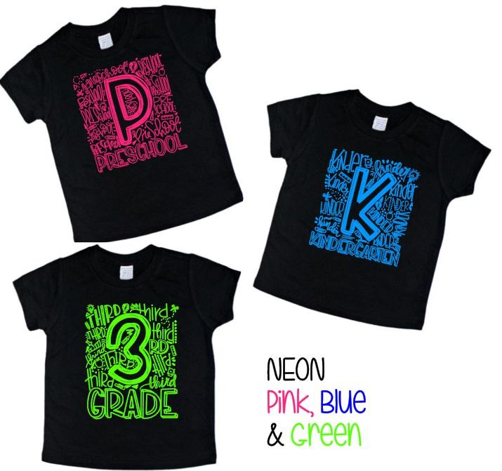 Elementary Grade School Number shirts with NEON - Se7enTees