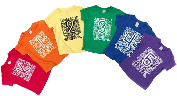 Elementary Grade School Number shirts Rainbow Colors - Se7enTees
