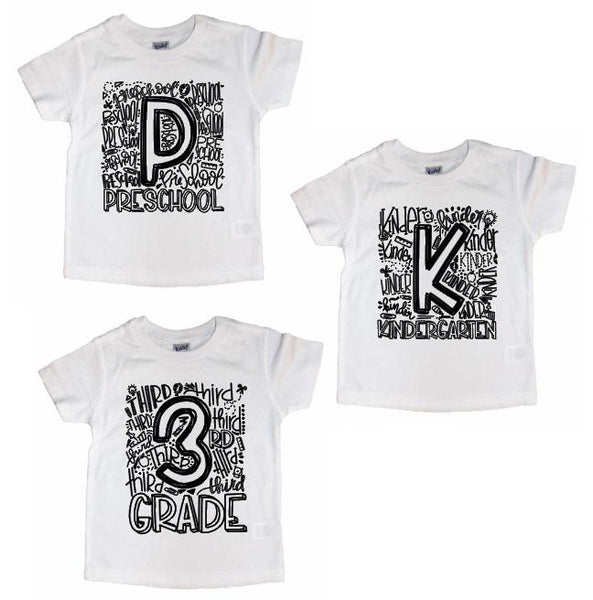 Elementary Grade School Number shirts White with black - Se7enTees