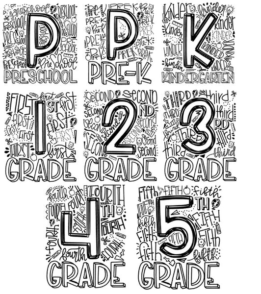 Elementary Grade School Number shirts Grey - Se7enTees