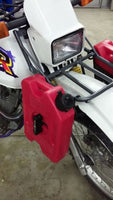 DR200 front rack attached to bike with bag supports and RotoPax fuel cells