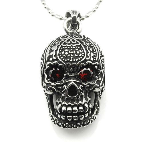 Sugar Skull Pendant Necklace - Stainless Steel - Red Rhinestones