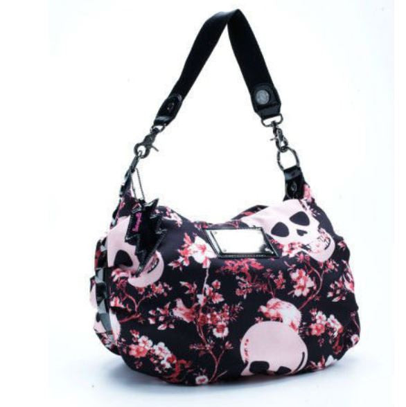 Sugar Skull Bag - Tote Purse - Black, Pink & Florals