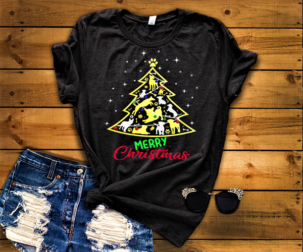 Merry Christmas New Dog Tree Shirt, For Dog Lovers (70% OFF Today) Christmas Special