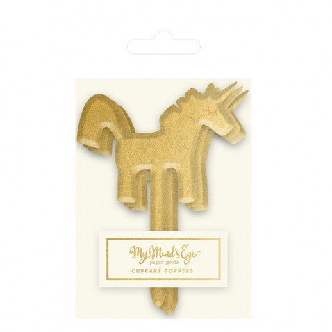 Unicorn Cupcake Picks - 8 Count - Gold