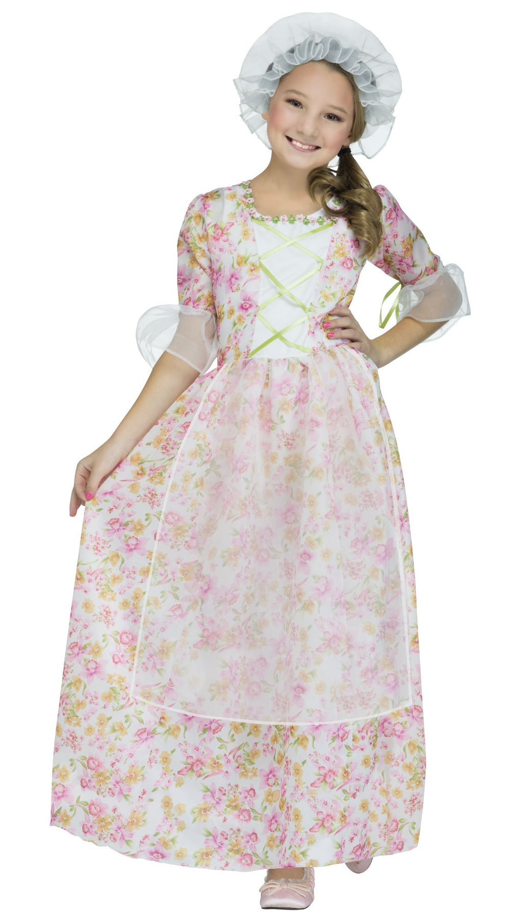 Pink Colonial Girls Costume with Cap
