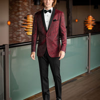 Apple Red Aries Paisley Slim Fit Tuxedo