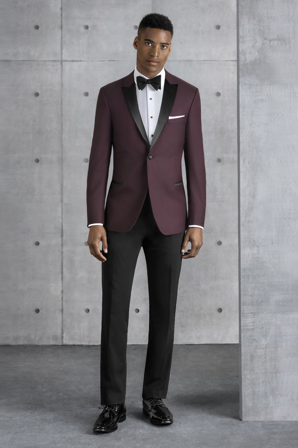 Kennith Cole Ultra Slim Burgundy Empire Tuxedo