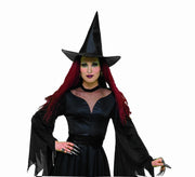Adult Black Taffeta Witch Hat
