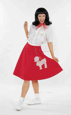 Red Adult Poodle Skirt