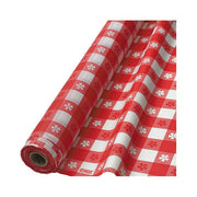 Gingham Checkered Red and White Printed Plastic Tablecover