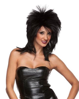 80's Rocker Long Wig Black