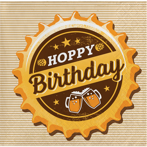 Beers and Cheers - Hoppy Birthday .Beverage Napkins -16 Count -2 Ply