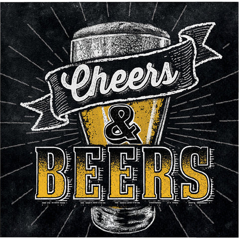 Beers and Cheers - Beverage Napkins -16 Count -2 Ply