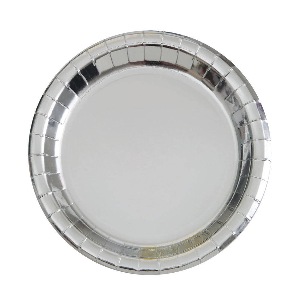 Metallic Silver Party Plates- 8 Count/ 9 inch Dinner Plate