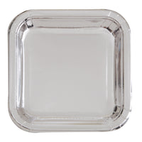 Metallic Silver Party Plates - 8 Count / 7 inch Square Plate
