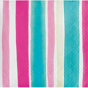 Tropical Stripes Dessert Napkins/ 16 Count/3 Ply