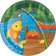 Camp Out Party Plates/ Gone Fishing/ 8 Count/ 7 inch plates