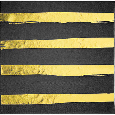 Black Velvet Foil Stamp Luncheon Napkins - 16 Count/3 Ply