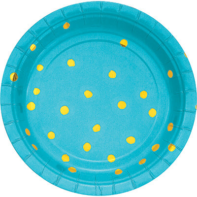 Bermuda Blue and Gold Foil Polka Dot Dessert Plates -8 Count 7 inch.