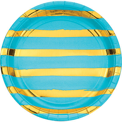 Bermuda Blue and Gold Foil Striped Luncheon Plates/8 Count/9""