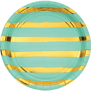 Mint Green and Gold Foil Striped Luncheon Plates/8 Count/9""