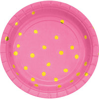 Pink and Gold Foil Polka Dot Dessert Plates/ 8 Count - 7""