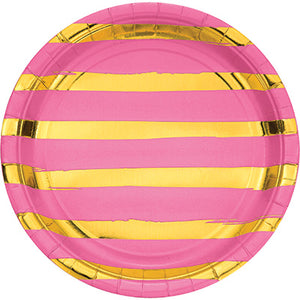 Pink and Gold Foil Striped Luncheon Plates/8 Count/9""