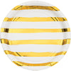White and Gold Foil Striped Luncheon Plates/8 Count/9""