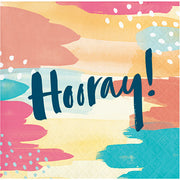 """Hooray"" Beverage Napkins / 3 Ply/16 Count"