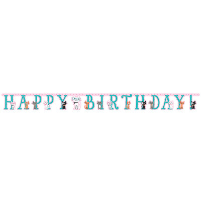 Purr-Fect Party Jointed Happy Birthday Banner - 10' x 7
