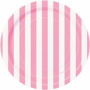 "Lovely Pink and White Striped Plate/ 7""/ 8 Count/ Dessert Plate"